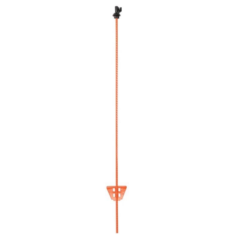 Piquet en acier à ressort 1,00m orange avec isolateur noir (1)